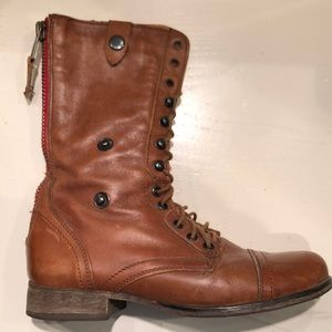 Steve Madden Brown leather fold over combat boots